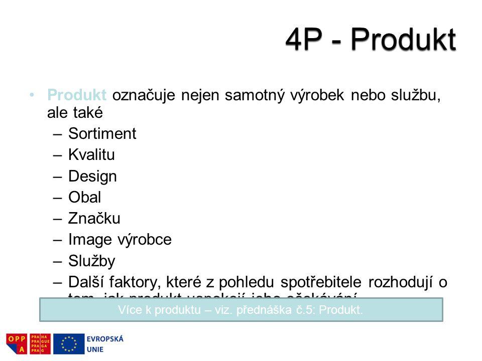 Produkt označuje nejen samotný výrobek nebo službu, ale také –Sortiment –Kvalitu –Design –Obal –Značku –Image výrobce –Služby –Další faktory, které z pohledu spotřebitele rozhodují o tom, jak produkt uspokojí jeho očekávání.