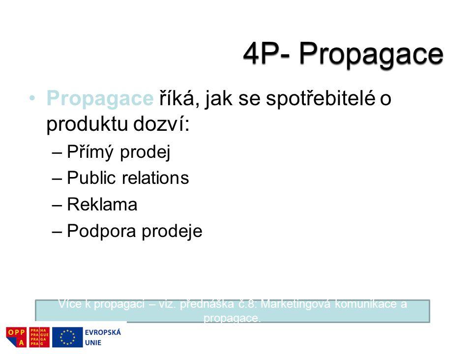 Propagace říká, jak se spotřebitelé o produktu dozví: –Přímý prodej –Public relations –Reklama –Podpora prodeje Více k propagaci – viz. přednáška č.8: