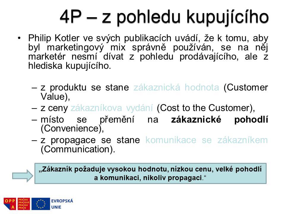 Philip Kotler ve svých publikacích uvádí, že k tomu, aby byl marketingový mix správně používán, se na něj marketér nesmí dívat z pohledu prodávajícího, ale z hlediska kupujícího.