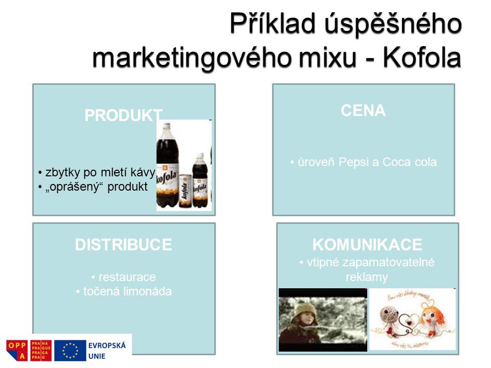"""PRODUKT zbytky po mletí kávy """"oprášený produkt DISTRIBUCE restaurace točená limonáda KOMUNIKACE vtipné zapamatovatelné reklamy CENA úroveň Pepsi a Coca cola"""