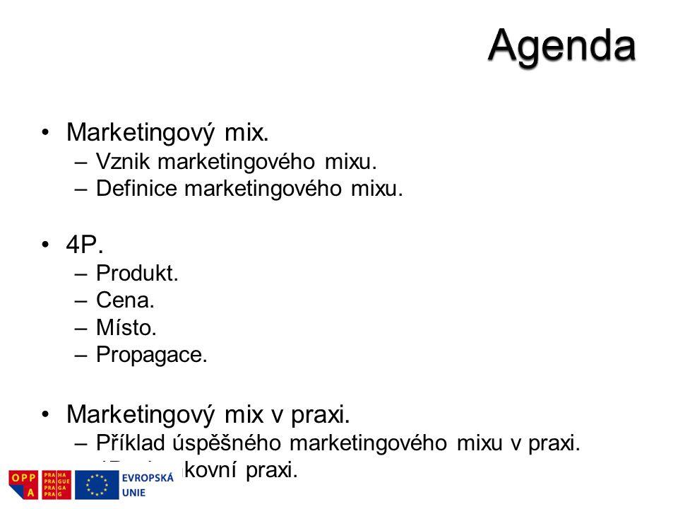 Marketingový mix. –Vznik marketingového mixu. –Definice marketingového mixu. 4P. –Produkt. –Cena. –Místo. –Propagace. Marketingový mix v praxi. –Příkl