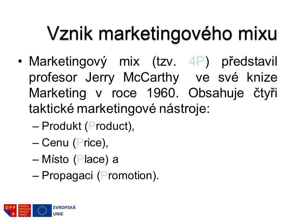 Marketingový mix (tzv.4P) představil profesor Jerry McCarthy ve své knize Marketing v roce 1960.