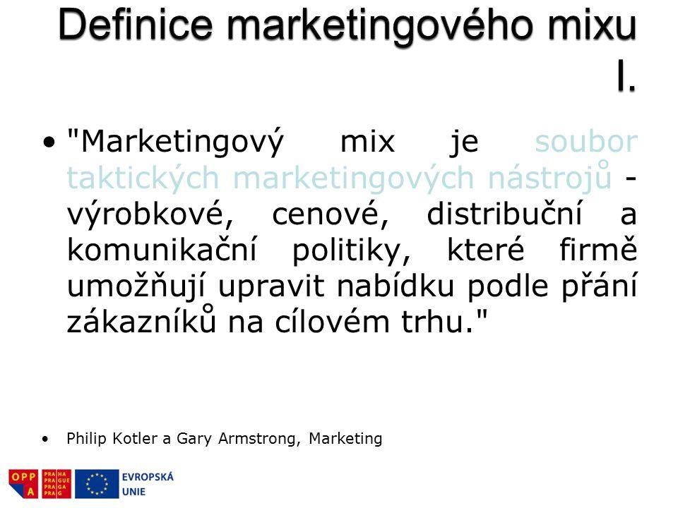 Marketingový mix je soubor taktických marketingových nástrojů - výrobkové, cenové, distribuční a komunikační politiky, které firmě umožňují upravit nabídku podle přání zákazníků na cílovém trhu. Philip Kotler a Gary Armstrong, Marketing