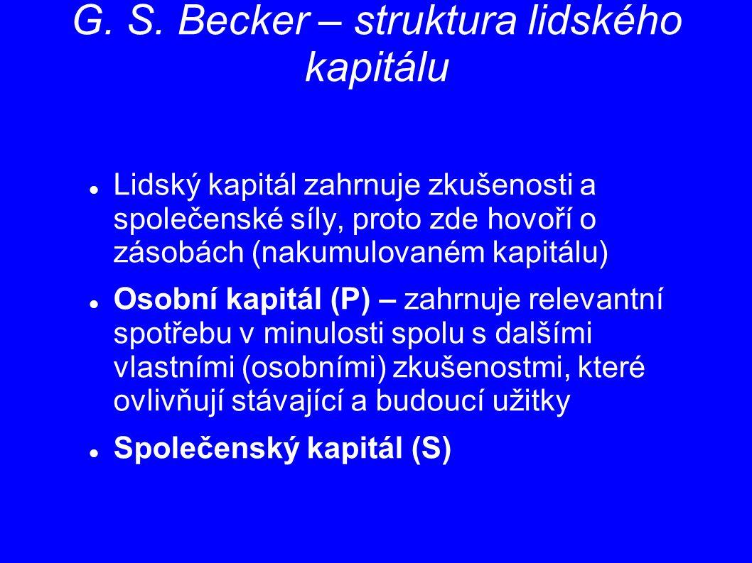 G. S. Becker – struktura lidského kapitálu Lidský kapitál zahrnuje zkušenosti a společenské síly, proto zde hovoří o zásobách (nakumulovaném kapitálu)