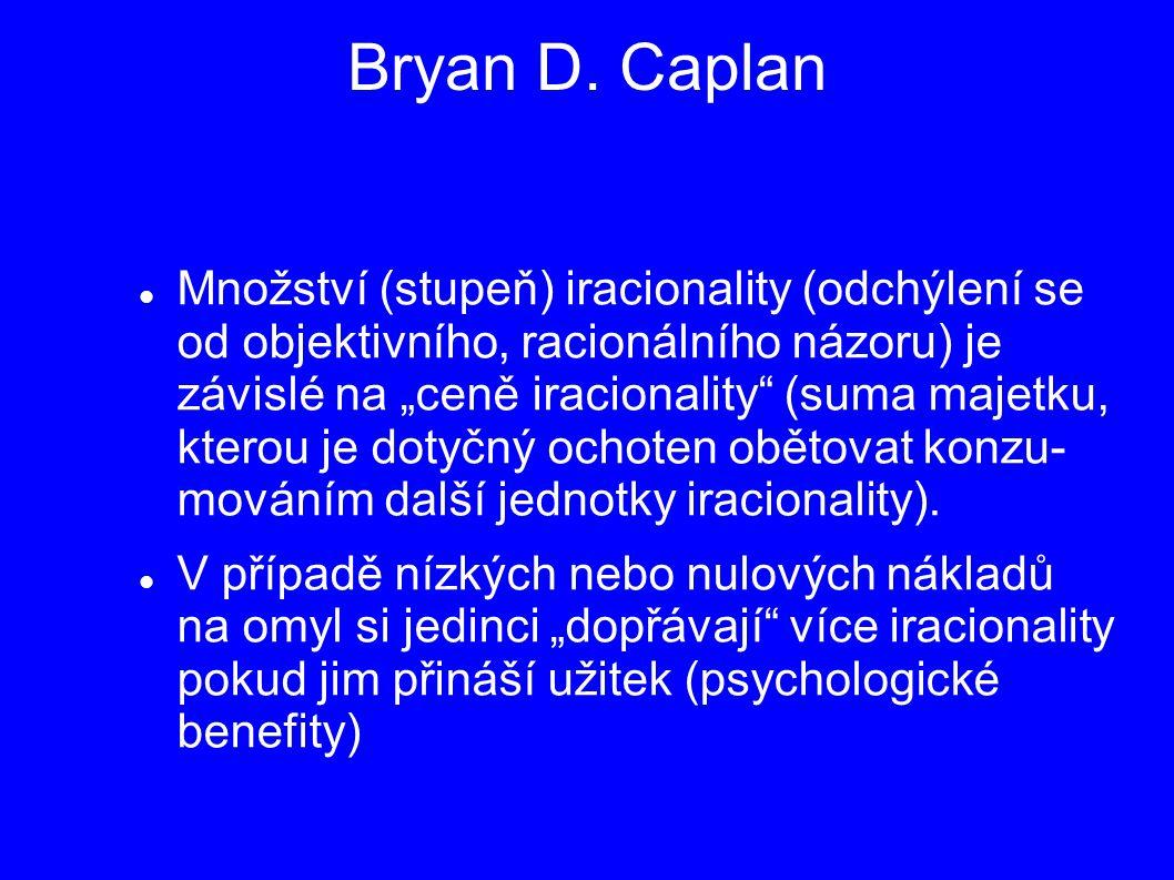"""Bryan D. Caplan Množství (stupeň) iracionality (odchýlení se od objektivního, racionálního názoru) je závislé na """"ceně iracionality"""" (suma majetku, kt"""
