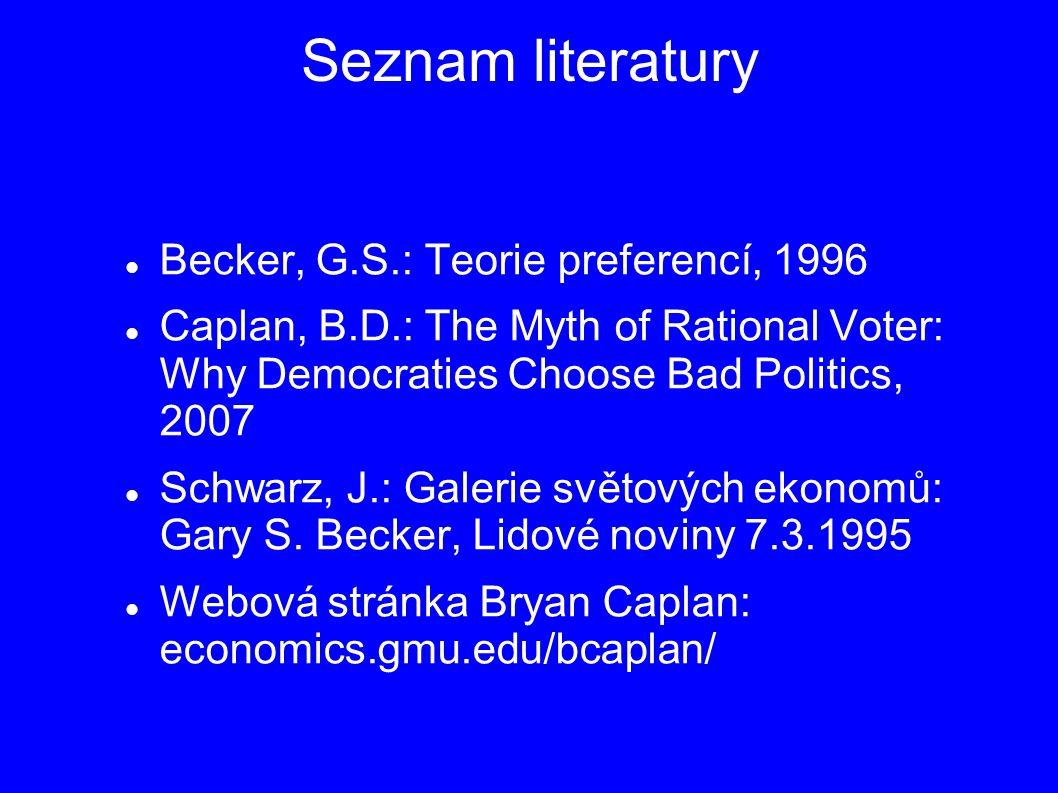 Seznam literatury Becker, G.S.: Teorie preferencí, 1996 Caplan, B.D.: The Myth of Rational Voter: Why Democraties Choose Bad Politics, 2007 Schwarz, J