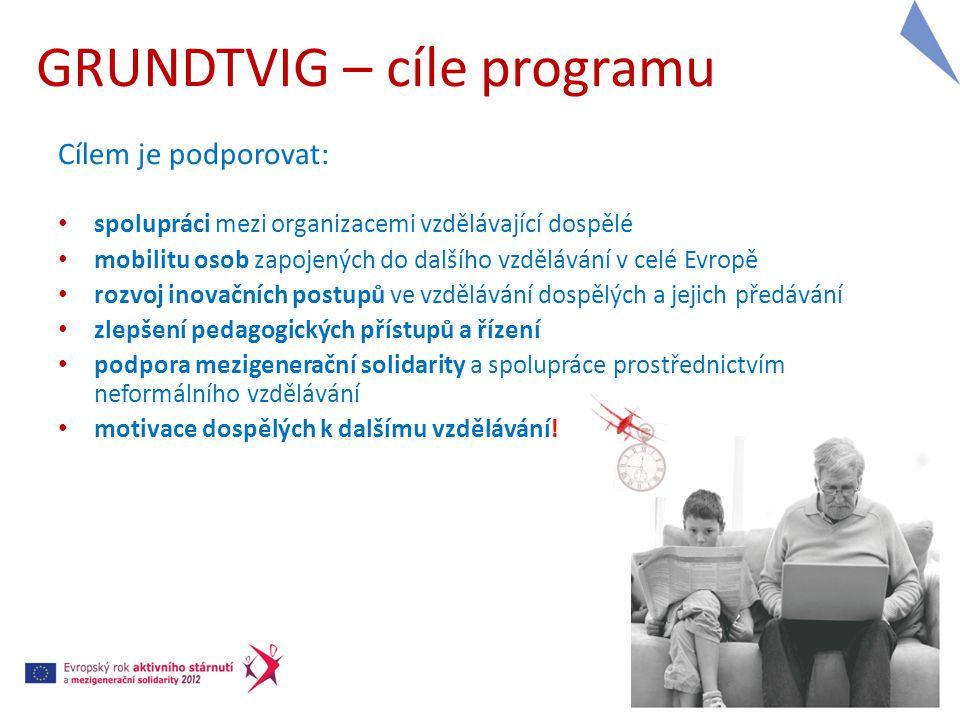 GRUNDTVIG – DOBROVOLNICKÉ PROJEKTY Cíle:  umožnit občanům 50+ vyzkoušet dobrovolnickou činnost v jiné zemi (neformální vzdělávání)  iniciace zavedení trvalé spolupráce mezi organizacemi Přínos pro zapojené organizace:  navázání mezinárodní spolupráce, výměna know-how, vzájemná motivace Přínos pro dobrovolníky 50+: nová zkušenost (neformální vzdělávání) zdokonalení osobních, jazykových, sociálních a mezikulturních dovedností pomoc druhým posílení sebevědomí, předání vlastních zkušeností a znalostí, aktivní trávení volného času, nové kontakty