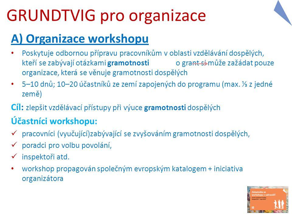 A) Organizace workshopu Poskytuje odbornou přípravu pracovníkům v oblasti vzdělávání dospělých, kteří se zabývají otázkami gramotnosti o grant si může zažádat pouze organizace, která se věnuje gramotnosti dospělých 5–10 dnů; 10–20 účastníků ze zemí zapojených do programu (max.