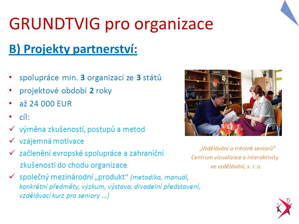 Příklady témat projektů partnerství: mezigenerační vzdělávání bariéry ve vzdělávání integrace znevýhodněných osob jak na jazykové vzdělávání dospělých ICT ve vzdělávání dospělých celoživotní učení aktivní stárnutí … Databáze EST (výstupy z projektů, anotace): http://est.dzs.cz/search.php