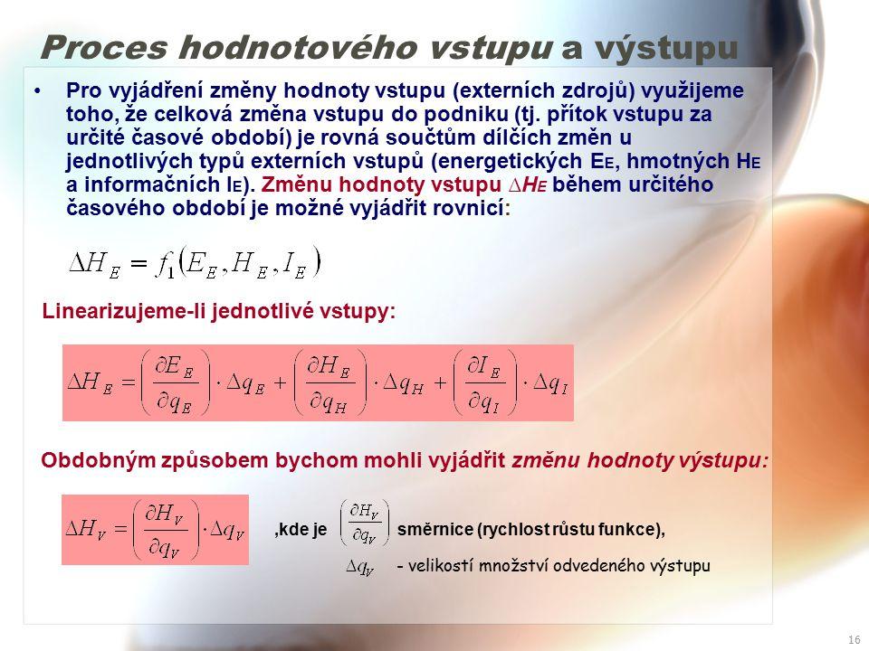 15 V případě, že bychom tuto změnu hodnoty externího energetického toku vyjádřili v závislosti na dodaném množství během určitého časového období (např.