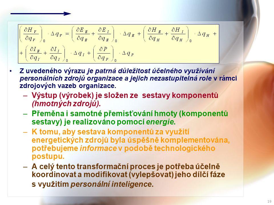 18 Při ustáleném stavu interakce s okolím se nestihla ovlivnit úroveň interních zdrojů a proto platí, že z hlediska užitku (který je funkcí spotřeby zdrojů), je změna hodnoty výstupu v rovnováze se změnou hodnoty vstupu a změnou hodnoty izolované transformace.