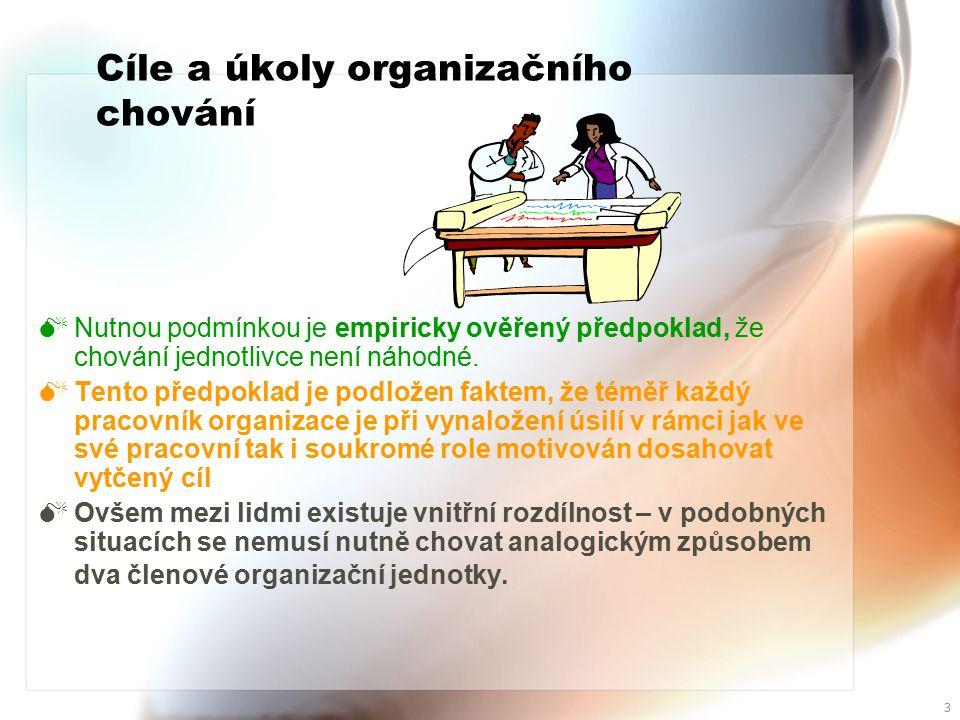 2 Cíle a úkoly organizačního chování Studium organizačního chování analyzuje a interpretuje projevené postoje a pracovní vazby členů organizačního kolektivu.