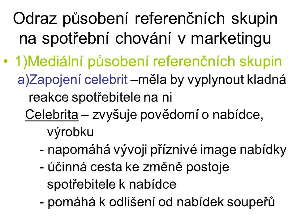 Odraz působení referenčních skupin na spotřební chování v marketingu 1)Mediální působení referenčních skupin a)Zapojení celebrit –měla by vyplynout kl