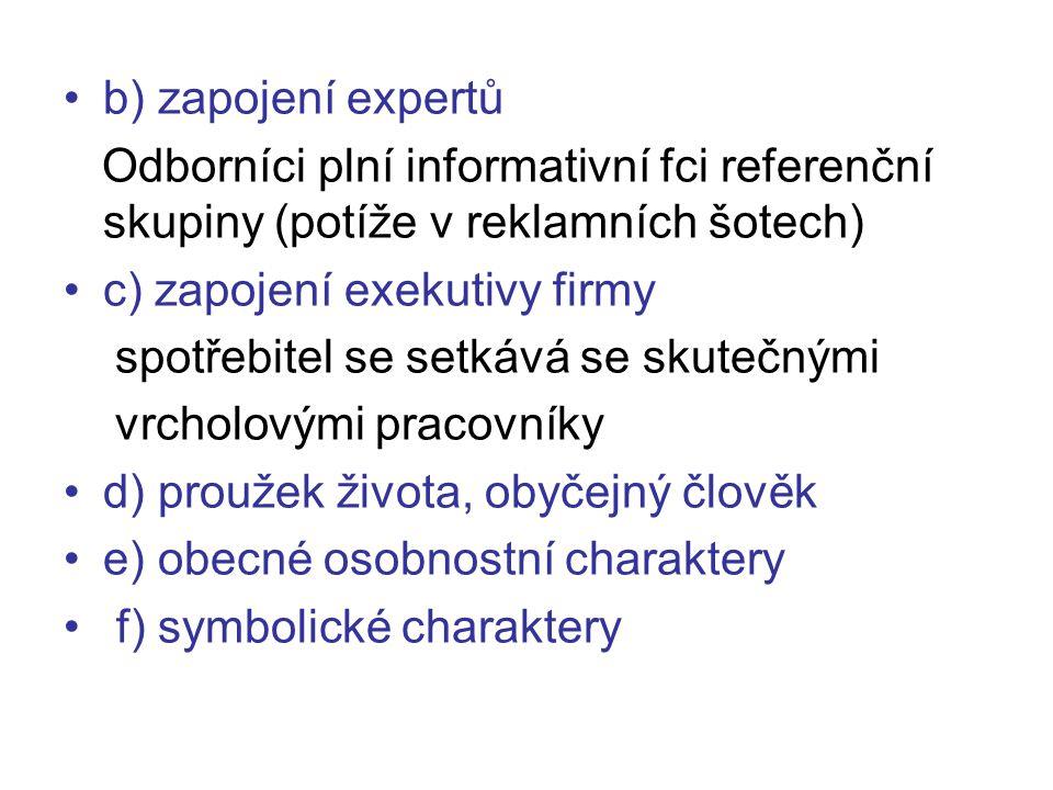 b) zapojení expertů Odborníci plní informativní fci referenční skupiny (potíže v reklamních šotech) c) zapojení exekutivy firmy spotřebitel se setkává