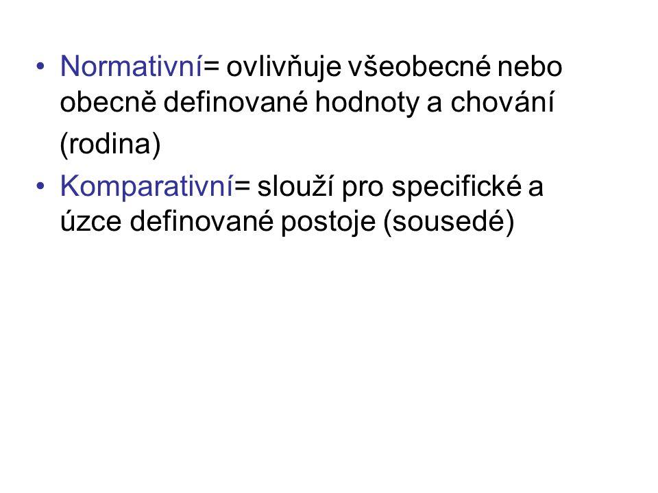 Normativní= ovlivňuje všeobecné nebo obecně definované hodnoty a chování (rodina) Komparativní= slouží pro specifické a úzce definované postoje (souse