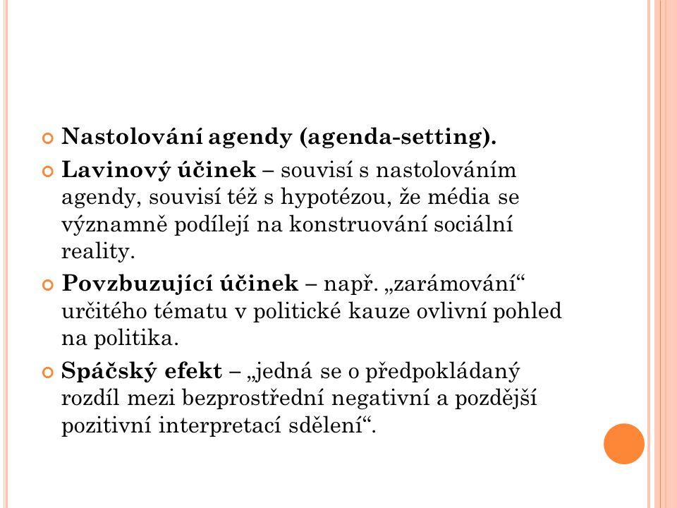 Nastolování agendy (agenda-setting).