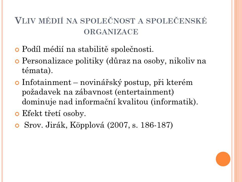 V LIV MÉDIÍ NA SPOLEČNOST A SPOLEČENSKÉ ORGANIZACE Podíl médií na stabilitě společnosti.