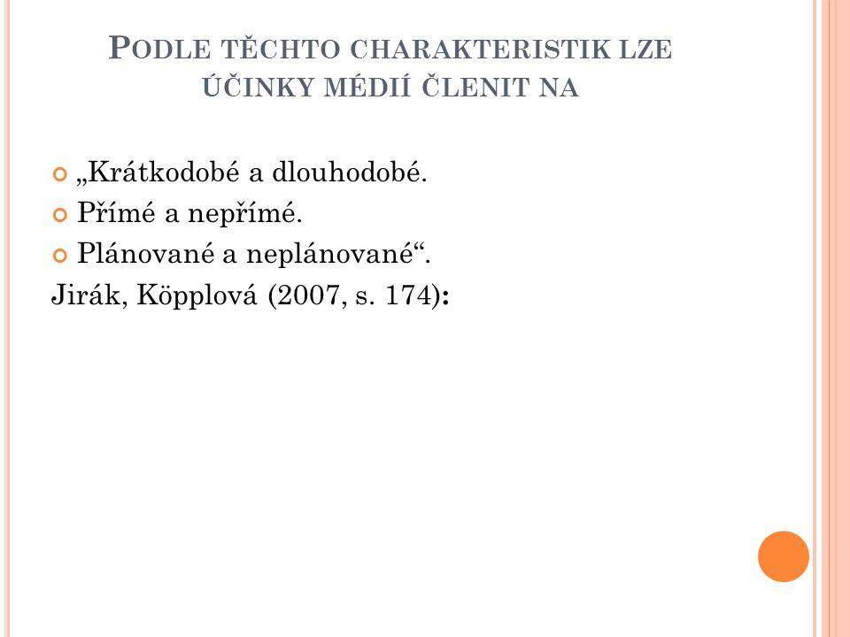 """P ODLE TĚCHTO CHARAKTERISTIK LZE ÚČINKY MÉDIÍ ČLENIT NA """"Krátkodobé a dlouhodobé."""
