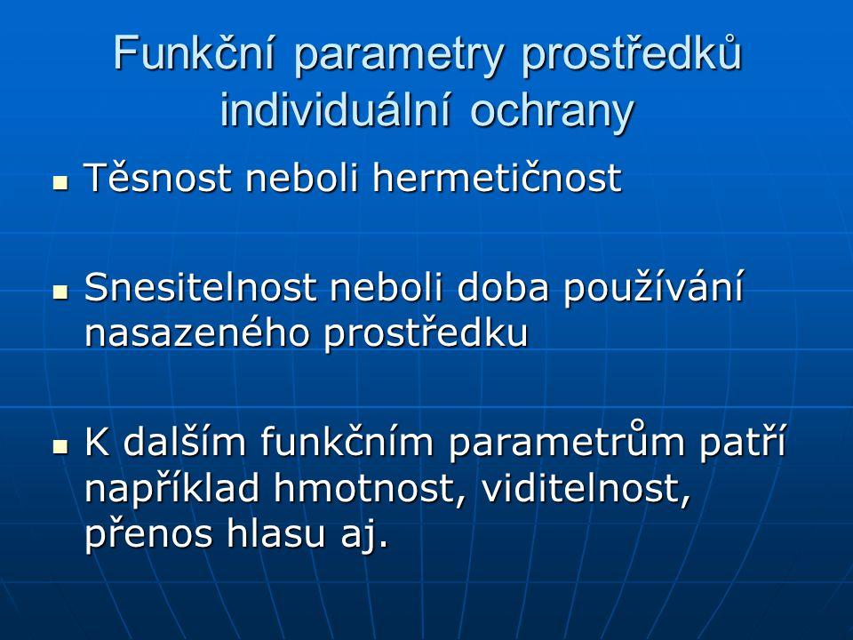 Funkční parametry prostředků individuální ochrany Těsnost neboli hermetičnost Těsnost neboli hermetičnost Snesitelnost neboli doba používání nasazenéh