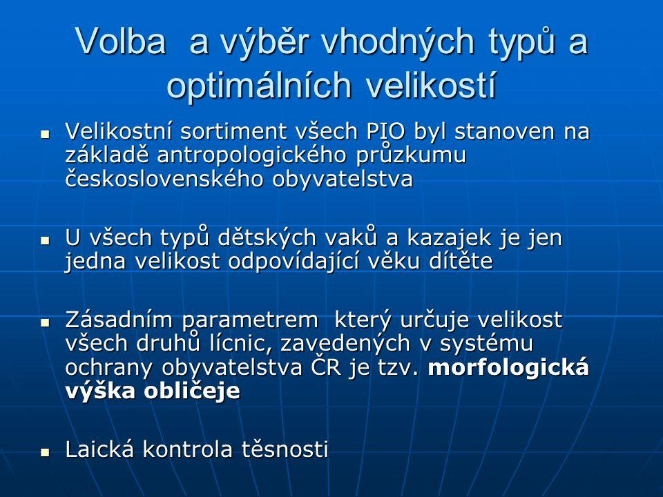Volba a výběr vhodných typů a optimálních velikostí Velikostní sortiment všech PIO byl stanoven na základě antropologického průzkumu československého