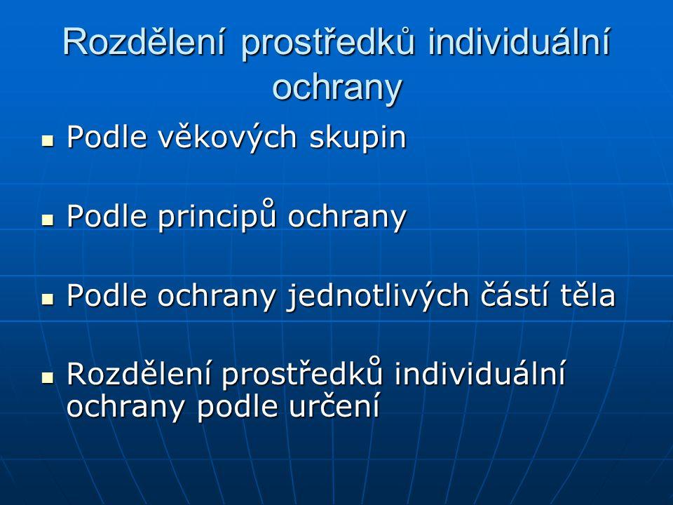 Rozdělení prostředků individuální ochrany Podle věkových skupin Podle věkových skupin Podle principů ochrany Podle principů ochrany Podle ochrany jedn