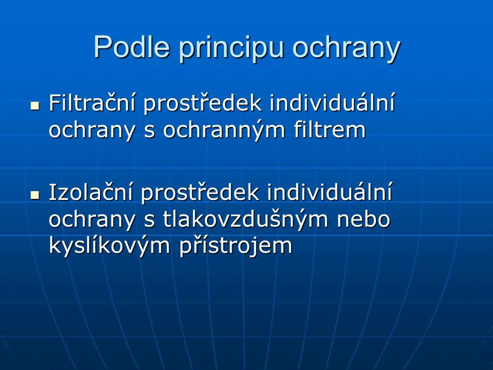 Podle principu ochrany Filtrační prostředek individuální ochrany s ochranným filtrem Filtrační prostředek individuální ochrany s ochranným filtrem Izo