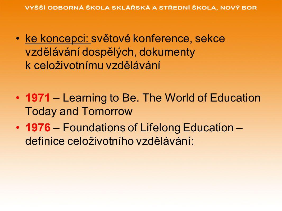 ke koncepci: světové konference, sekce vzdělávání dospělých, dokumenty k celoživotnímu vzdělávání 1971 – Learning to Be. The World of Education Today