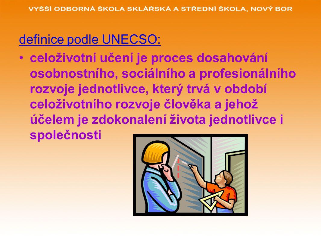 definice podle UNECSO: celoživotní učení je proces dosahování osobnostního, sociálního a profesionálního rozvoje jednotlivce, který trvá v období celoživotního rozvoje člověka a jehož účelem je zdokonalení života jednotlivce i společnosti