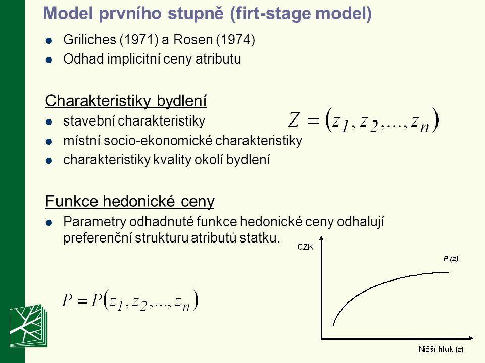 Model prvního stupně (firt-stage model) Griliches (1971) a Rosen (1974) Odhad implicitní ceny atributu Charakteristiky bydlení stavební charakteristik