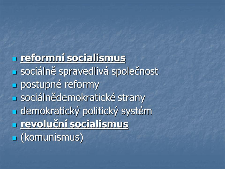 reformní socialismus reformní socialismus sociálně spravedlivá společnost sociálně spravedlivá společnost postupné reformy postupné reformy sociálněde