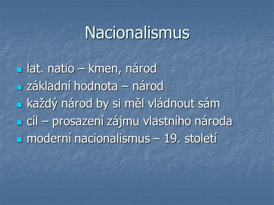 Nacionalismus lat. natio – kmen, národ lat. natio – kmen, národ základní hodnota – národ základní hodnota – národ každý národ by si měl vládnout sám k