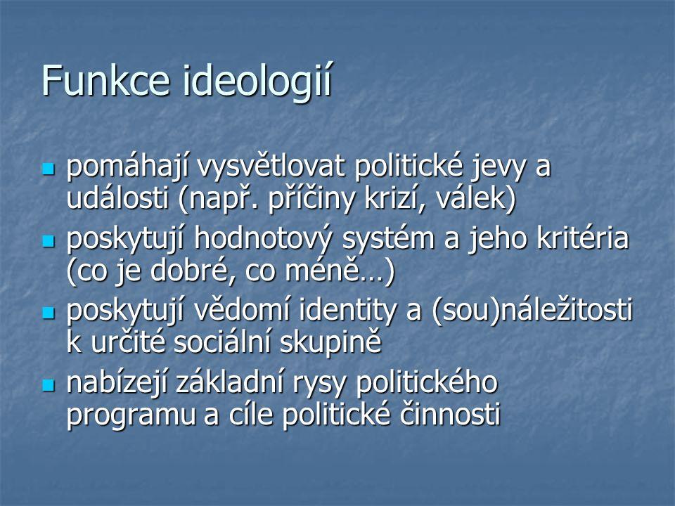 Funkce ideologií pomáhají vysvětlovat politické jevy a události (např. příčiny krizí, válek) pomáhají vysvětlovat politické jevy a události (např. pří