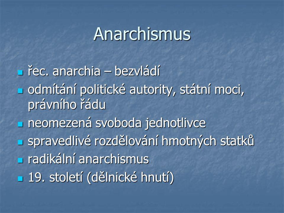 Anarchismus řec. anarchia – bezvládí řec. anarchia – bezvládí odmítání politické autority, státní moci, právního řádu odmítání politické autority, stá