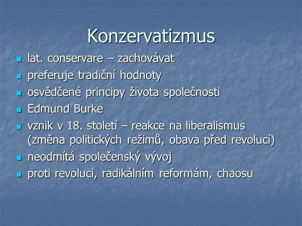 Konzervatizmus lat. conservare – zachovávat lat. conservare – zachovávat preferuje tradiční hodnoty preferuje tradiční hodnoty osvědčené principy živo