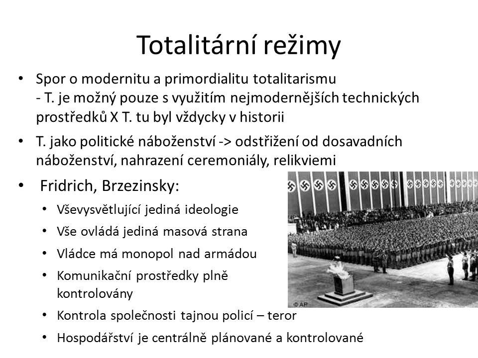 Totalitární režimy Spor o modernitu a primordialitu totalitarismu - T.