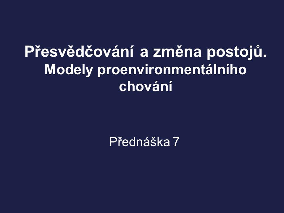 Přesvědčování a změna postojů. Modely proenvironmentálního chování Přednáška 7