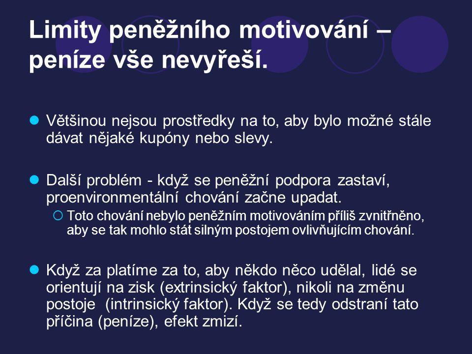 Limity peněžního motivování – peníze vše nevyřeší. Většinou nejsou prostředky na to, aby bylo možné stále dávat nějaké kupóny nebo slevy. Další problé