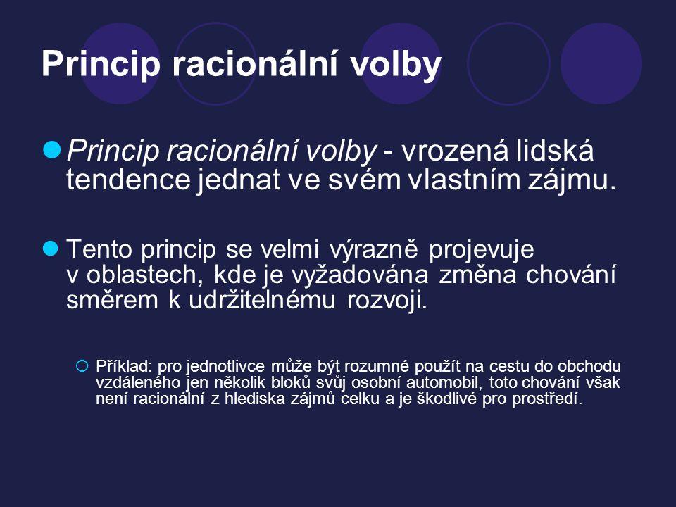 Princip racionální volby Princip racionální volby - vrozená lidská tendence jednat ve svém vlastním zájmu. Tento princip se velmi výrazně projevuje v