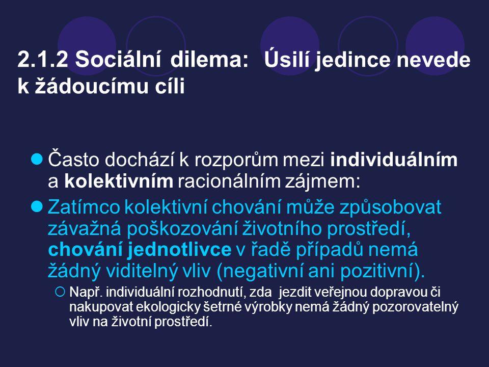 2.1.2 Sociální dilema: Úsilí jedince nevede k žádoucímu cíli Často dochází k rozporům mezi individuálním a kolektivním racionálním zájmem: Zatímco kol