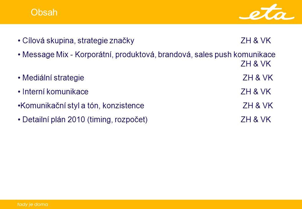 2 Obsah Cílová skupina, strategie značky ZH & VK Message Mix - Korporátní, produktová, brandová, sales push komunikace ZH & VK Mediální strategie ZH & VK Interní komunikace ZH & VK Komunikační styl a tón, konzistence ZH & VK Detailní plán 2010 (timing, rozpočet)ZH & VK