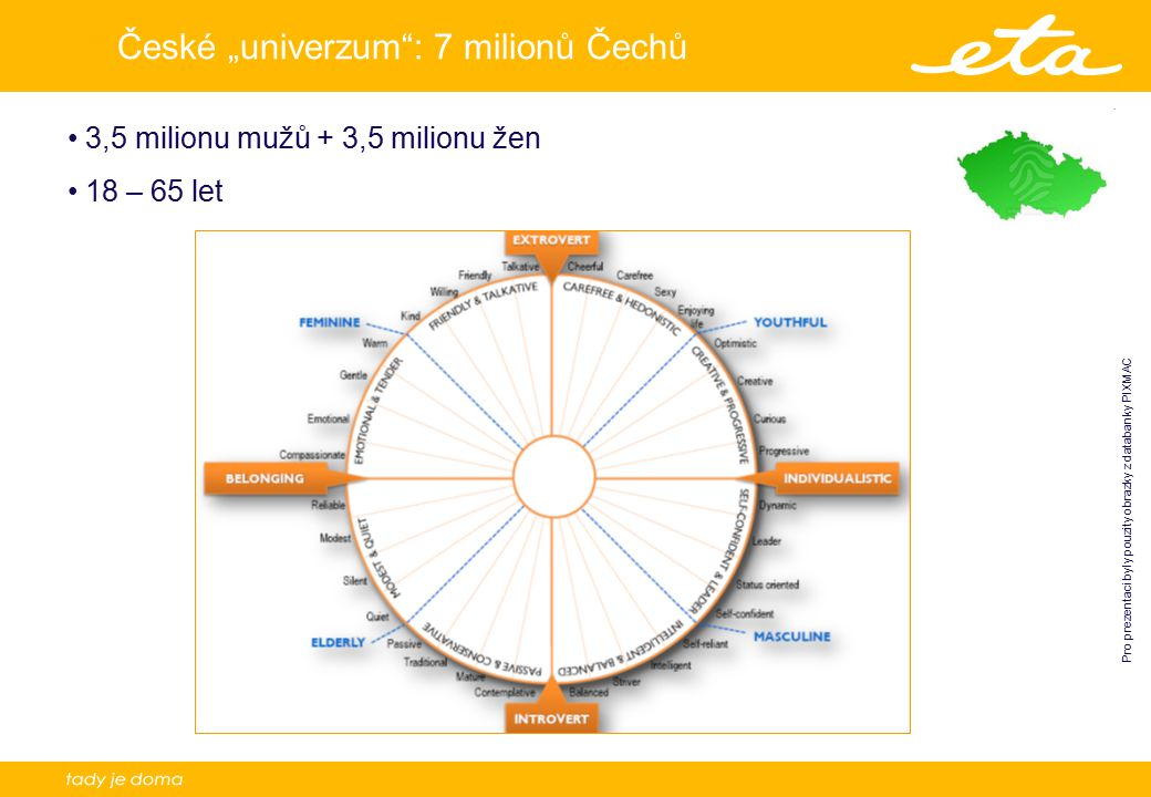 """4 České """"univerzum : 7 milionů Čechů 3,5 milionu mužů + 3,5 milionu žen 18 – 65 let Pro prezentaci byly pouzity obrazky z databanky PIXMAC"""