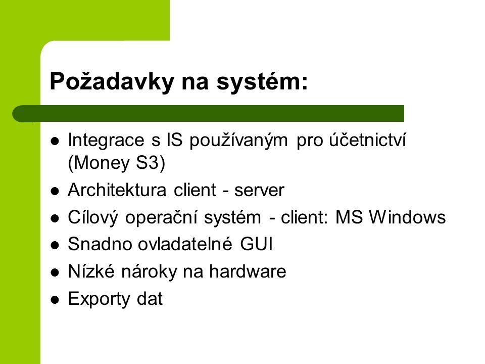 Požadavky na systém: Integrace s IS používaným pro účetnictví (Money S3) Architektura client - server Cílový operační systém - client: MS Windows Snad