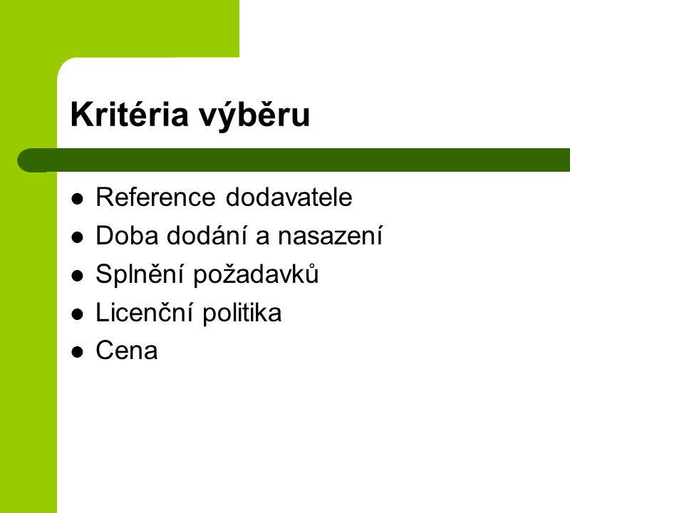 Kritéria výběru Reference dodavatele Doba dodání a nasazení Splnění požadavků Licenční politika Cena