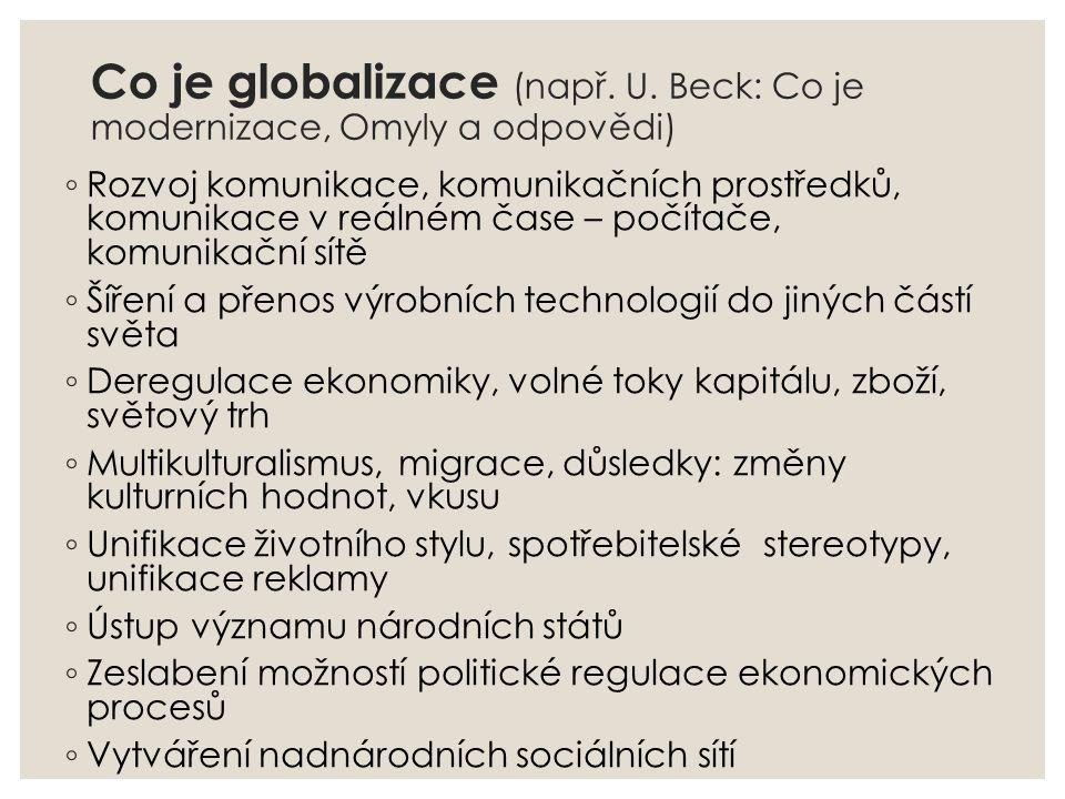 Co je globalizace (např. U. Beck: Co je modernizace, Omyly a odpovědi) ◦ Rozvoj komunikace, komunikačních prostředků, komunikace v reálném čase – počí