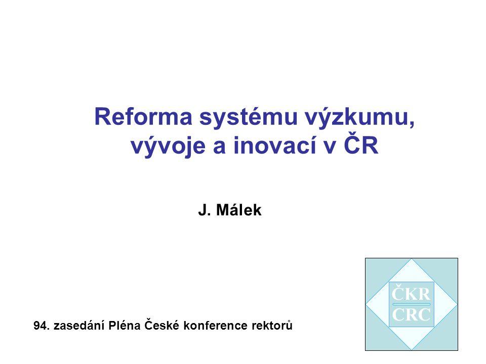 Reforma systému výzkumu, vývoje a inovací v ČR 94. zasedání Pléna České konference rektorů J. Málek