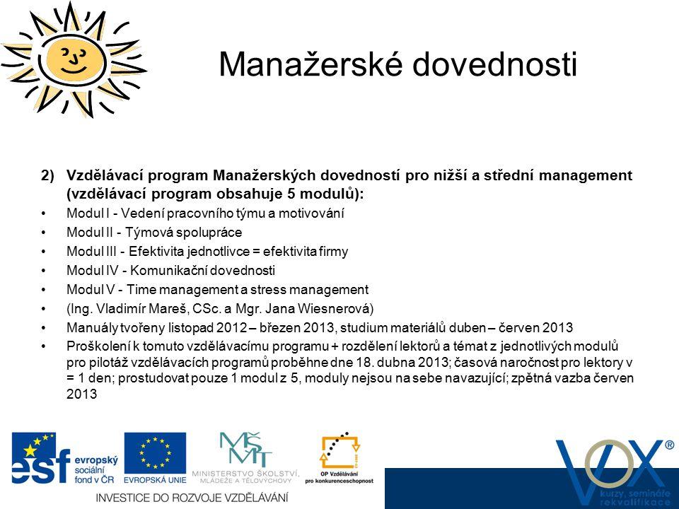 Manažerské dovednosti 2) Vzdělávací program Manažerských dovedností pro nižší a střední management (vzdělávací program obsahuje 5 modulů): Modul I - V