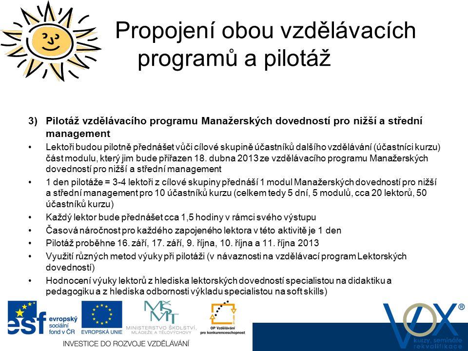 Propojení obou vzdělávacích programů a pilotáž www.vox.cz 3) Pilotáž vzdělávacího programu Manažerských dovedností pro nižší a střední management Lekt