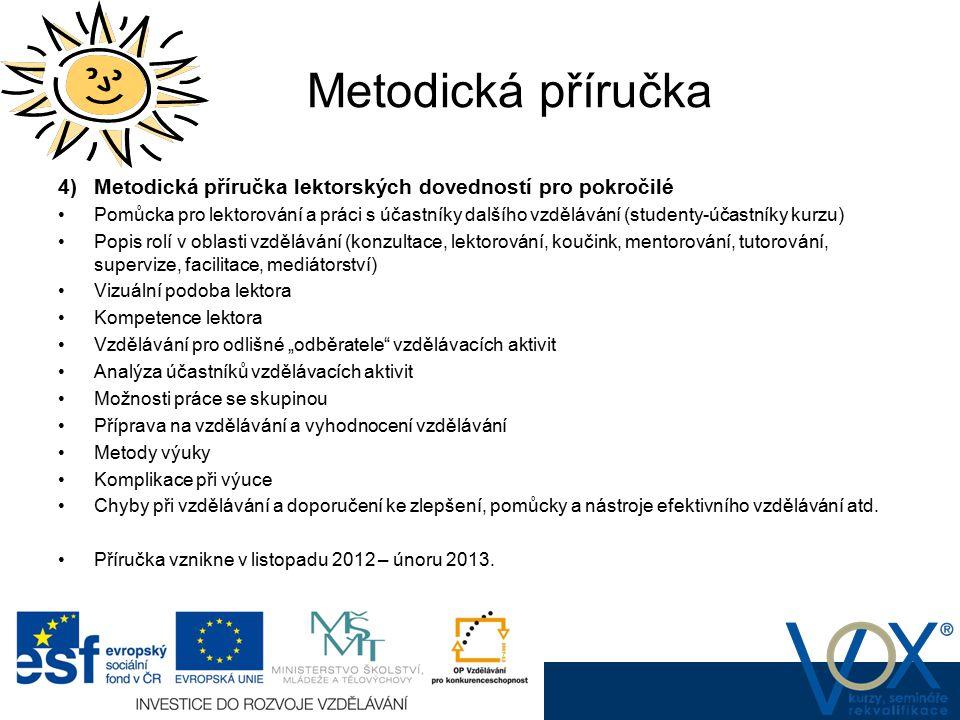 Metodická příručka www.vox.cz 4) Metodická příručka lektorských dovedností pro pokročilé Pomůcka pro lektorování a práci s účastníky dalšího vzděláván