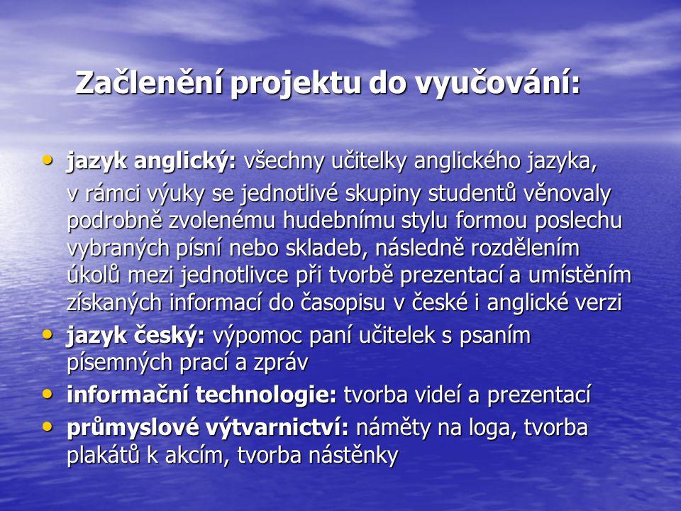 Začlenění projektu do vyučování: jazyk anglický: všechny učitelky anglického jazyka, jazyk anglický: všechny učitelky anglického jazyka, v rámci výuky