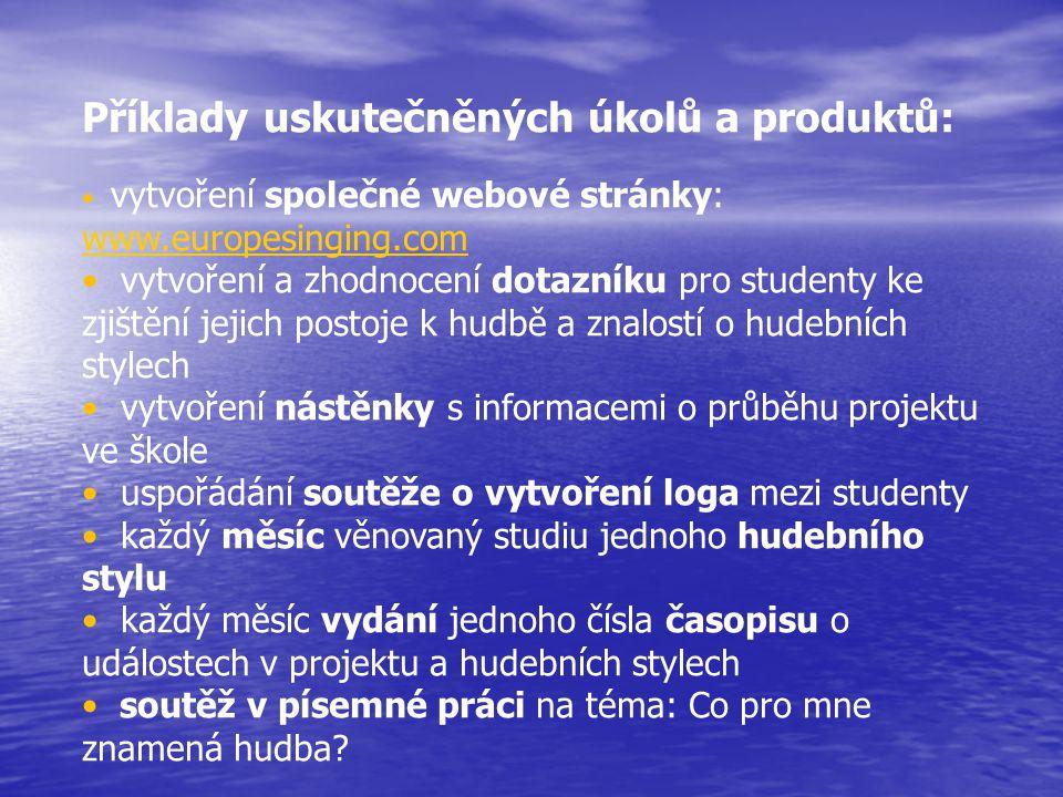Příklady uskutečněných úkolů a produktů: vytvoření společné webové stránky: www.europesinging.com www.europesinging.com vytvoření a zhodnocení dotazní